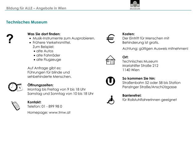 Infoblatt TECHNISCHES MUSEUM  2011 10 25