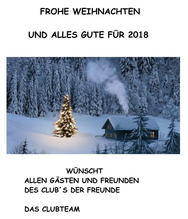 WEIHNACHTSWÜNSCHE VOM CLUB 2018
